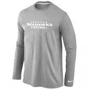 Wholesale Cheap Nike Seattle Seahawks Authentic Font Long Sleeve T-Shirt Grey