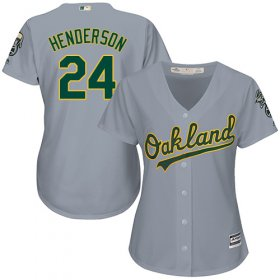 Wholesale Cheap Athletics #24 Rickey Henderson Grey Road Women\'s Stitched MLB Jersey