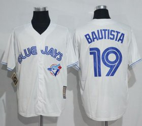 Wholesale Cheap Blue Jays #19 Jose Bautista White Cooperstown Throwback Stitched MLB Jersey