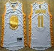 Wholesale Cheap Golden State Warriors #11 Klay Thompson 2015 NBA Final Game Gold Name White Jersey