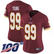 Wholesale Cheap Nike Redskins #99 Chase Young Burgundy Red Team Color Women's Stitched NFL 100th Season Vapor Untouchable Limited Jersey