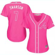 Wholesale Cheap Braves #7 Dansby Swanson Pink Fashion Women's Stitched MLB Jersey