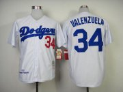 Wholesale Cheap Mitchell And Ness 1955 Dodgers #34 Fernando Valenzuela White Throwback Stitched MLB Jersey