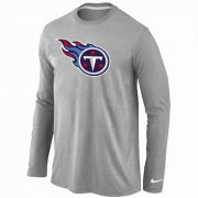 Wholesale Cheap Nike Tennessee Titans Logo Long Sleeve T-Shirt Grey