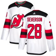 Wholesale Cheap Adidas Devils #28 Damon Severson White Road Authentic Stitched NHL Jersey