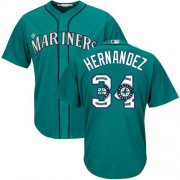 Wholesale Cheap Mariners #34 Felix Hernandez Green Team Logo Fashion Stitched MLB Jersey