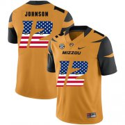 Wholesale Cheap Missouri Tigers 12 Johnathon Johnson Gold USA Flag Nike College Football Jersey