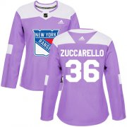 Wholesale Cheap Adidas Rangers #36 Mats Zuccarello Purple Authentic Fights Cancer Women's Stitched NHL Jersey