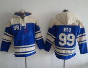 Wholesale Cheap Dodgers #99 Hyun-Jin Ryu Blue Sawyer Hooded Sweatshirt MLB Hoodie
