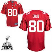 Wholesale Cheap Giants #80 Victor Cruz Red Super Bowl XLVI Embroidered NFL Jersey