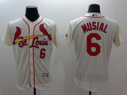 Wholesale Cheap Cardinals #6 Stan Musial Cream Flexbase Authentic Collection Stitched MLB Jersey