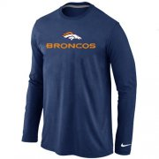 Wholesale Cheap Nike Denver Broncos Authentic Logo Long Sleeve T-Shirt Dark Blue