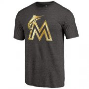 Wholesale Cheap Miami Marlins Fanatics Apparel Gold Collection Tri-Blend T-Shirt Black