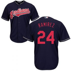 Wholesale Cheap Indians #24 Manny Ramirez Navy Blue New Cool Base Stitched MLB Jersey