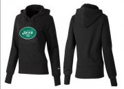 Wholesale Cheap Women's New York Jets Logo Pullover Hoodie Black