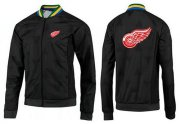 Wholesale NHL Detroit Red Wings Zip Jackets Black-3