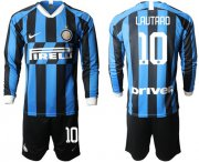 Wholesale Cheap Inter Milan #10 Lautaro Home Long Sleeves Soccer Club Jersey