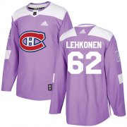 Wholesale Cheap Adidas Canadiens #62 Artturi Lehkonen Purple Authentic Fights Cancer Stitched NHL Jersey