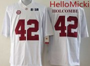 Wholesale Cheap Men's Alabama Crimson Tide #42 Keith Holcombe White 2016 BCS College Football Nike Limited Jersey