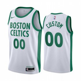 Wholesale Cheap Men\'s Nike Celitcs Custom Personalized Swingman White NBA 2020-21 City Edition Jersey