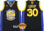 Wholesale Cheap Men's Golden State Warriors #30 Stephen Curry Black With Blue Edge 2017 The NBA Finals Patch Jersey