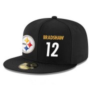 Wholesale Cheap Pittsburgh Steelers #12 Terry Bradshaw Snapback Cap NFL Player Black with White Number Stitched Hat