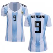 Wholesale Cheap Women's Argentina #9 Kun Aguero Home Soccer Country Jersey
