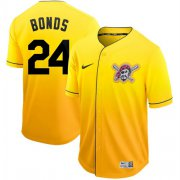 Wholesale Cheap Nike Pirates #24 Barry Bonds Gold Fade Authentic Stitched MLB Jersey