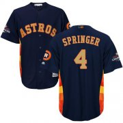Wholesale Cheap Astros #4 George Springer Navy Blue 2018 Gold Program Cool Base Stitched Youth MLB Jersey