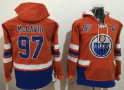 Wholesale Cheap Oilers #97 Connor McDavid Orange Name & Number Pullover NHL Hoodie