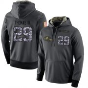Wholesale Cheap NFL Men's Nike Baltimore Ravens #29 Earl Thomas III Stitched Black Anthracite Salute to Service Player Performance Hoodie