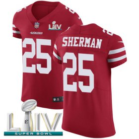 Wholesale Cheap Nike 49ers #25 Richard Sherman Red Super Bowl LIV 2020 Team Color Men\'s Stitched NFL Vapor Untouchable Elite Jersey