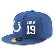 Wholesale Cheap Indianapolis Colts #19 Johnny Unitas Snapback Cap NFL Player Royal Blue with White Number Stitched Hat