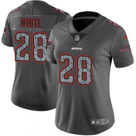 Wholesale Cheap Nike Patriots #28 James White Gray Static Women\'s Stitched NFL Vapor Untouchable Limited Jersey