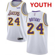 Cheap Youth Los Angeles Lakers #24 Kobe Bryant White Basketball Swingman Association Edition Jersey