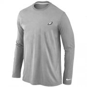 Wholesale Cheap Nike Philadelphia Eagles Sideline Legend Authentic Logo Long Sleeve T-Shirt Grey