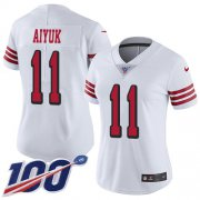 Wholesale Cheap Nike 49ers #11 Brandon Aiyuk White Women's Stitched NFL Limited Rush 100th Season Jersey