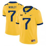 Wholesale Cheap West Virginia Mountaineers 7 Daryl Worley Yellow College Football Jersey