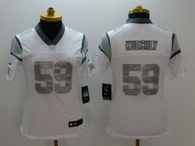 Wholesale Cheap Nike Panthers #59 Luke Kuechly White Women\'s Stitched NFL Limited Platinum Jersey
