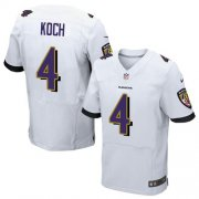 Wholesale Nike Ravens #4 Sam Koch White Men's Stitched NFL New Elite Jersey