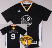 Wholesale Cheap Men's Golden State Warriors #9 Andre Iguodala Black Short-Sleeved 2017 The NBA Finals Patch Jersey