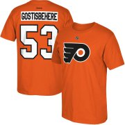 Wholesale Cheap Philadelphia Flyers #53 Shayne Gostisbehere Reebok Home Name & Number T-Shirt Orange