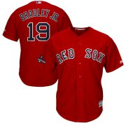 Wholesale Cheap Boston Red Sox #19 Jackie Bradley Jr. Majestic 2018 World Series Champions Team Logo Player Jersey Scarlet