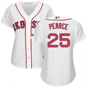 Wholesale Cheap Red Sox #25 Steve Pearce White Home Women's Stitched MLB Jersey