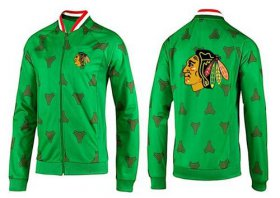 Wholesale Cheap NHL Chicago Blackhawks Zip Jackets Green-2
