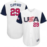 Wholesale Cheap Team USA #29 Tyler Clippard White 2017 World MLB Classic Authentic Stitched MLB Jersey