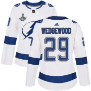 Cheap Adidas Lightning #29 Scott Wedgewood White Road Authentic Women's 2020 Stanley Cup Champions Stitched NHL Jersey