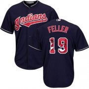 Wholesale Cheap Indians #19 Bob Feller Navy Blue Team Logo Fashion Stitched MLB Jersey