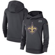 Wholesale Cheap Women's New Orleans Saints Nike Anthracite Crucial Catch Performance Pullover Hoodie