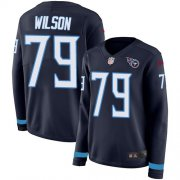 Wholesale Cheap Nike Titans #79 Isaiah Wilson Navy Blue Team Color Women's Stitched NFL Limited Therma Long Sleeve Jersey
